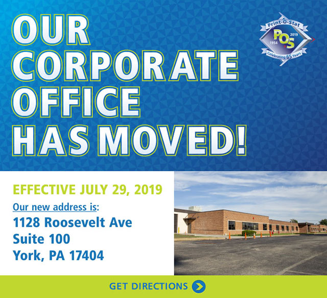 Our Corporate Office Has Moved to 1128 Roosevelt Ave, York, PA 17404